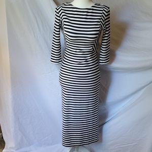 Zara Striped Navy/White Fitted Jersey Dress